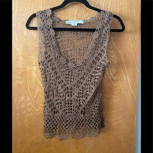 Bette Paige crochet net dee u-neck beach top M
